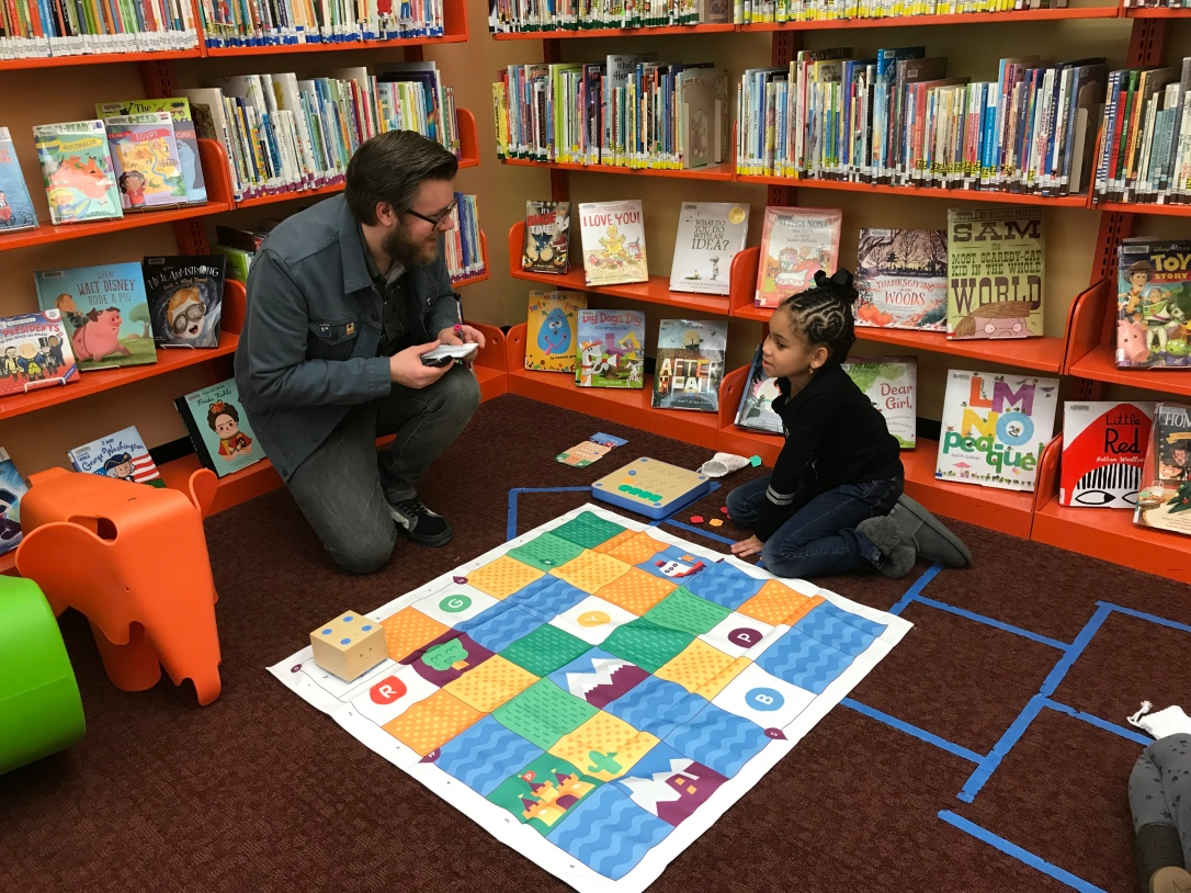 Father and Daughter in the children's library