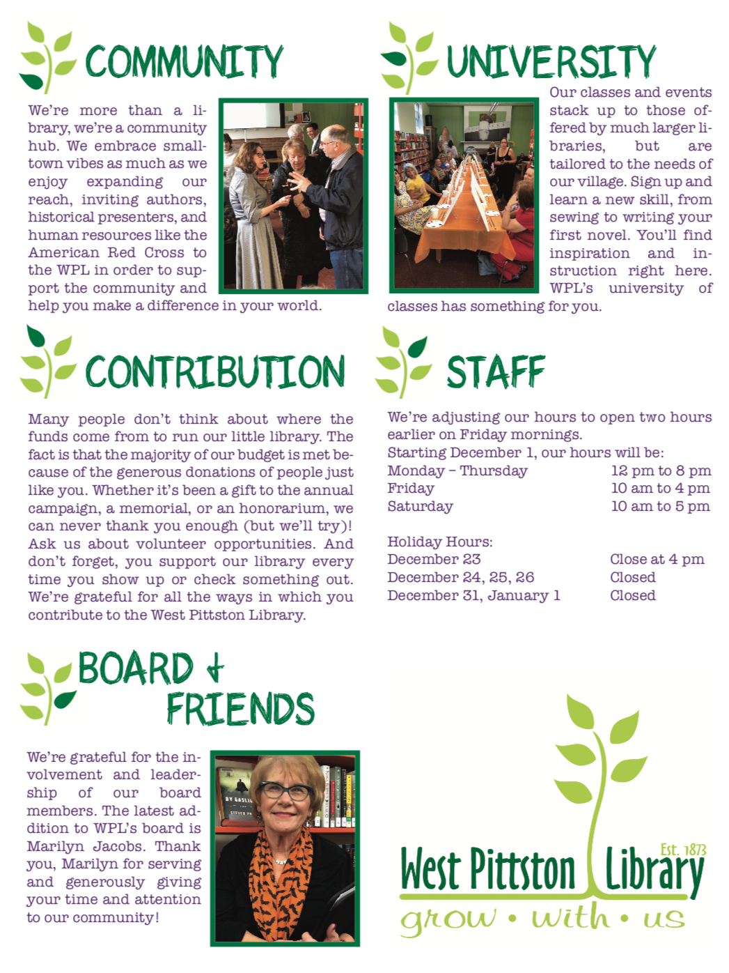 West Pittston Library Winter Newsletter page 4 2019-2020